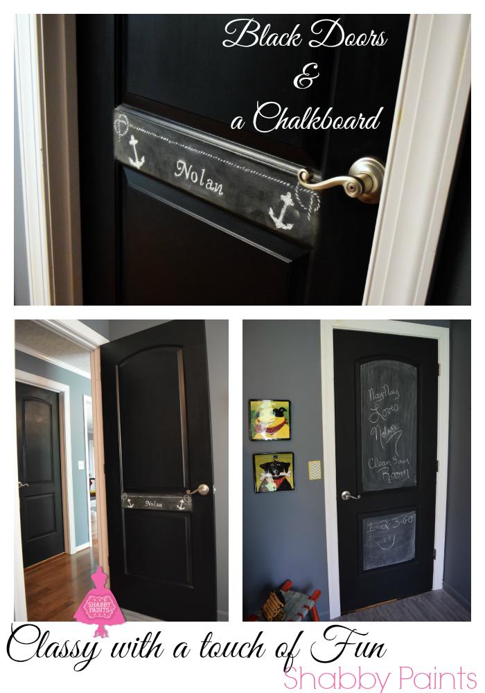 Black interior doors chalk paint. Chalkboard center