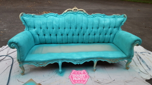 Sofa painted with Chalk-Acrylic paint using a sprayer