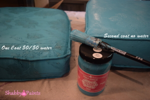 Painting fabric with Chalk Acrylic Paint by Shabby Paints. Give life to outdated fabric.