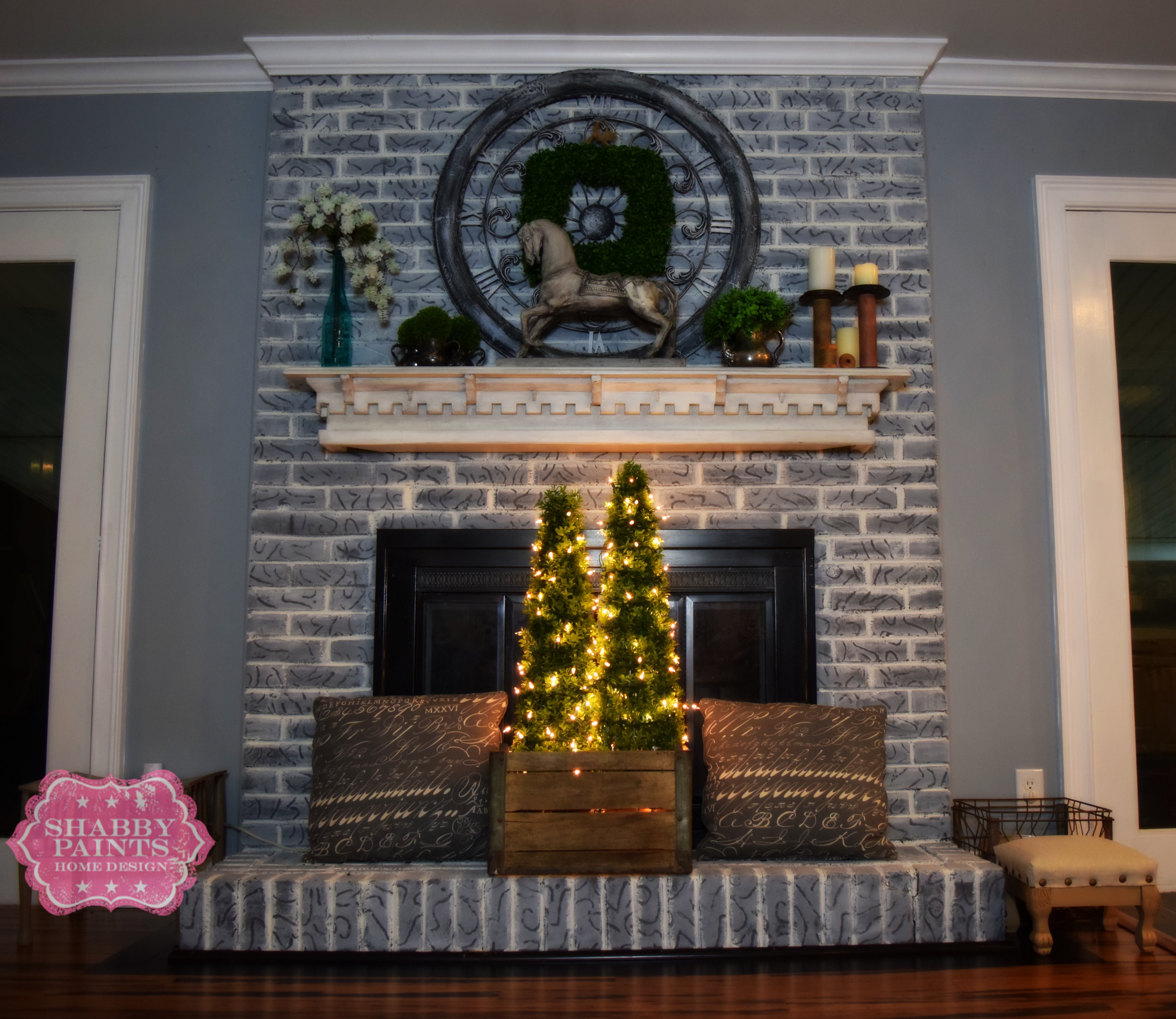 Painted Brick Fireplace Farmhouse Inspiration - Shabby Paints on Brick Painting Ideas  id=46092