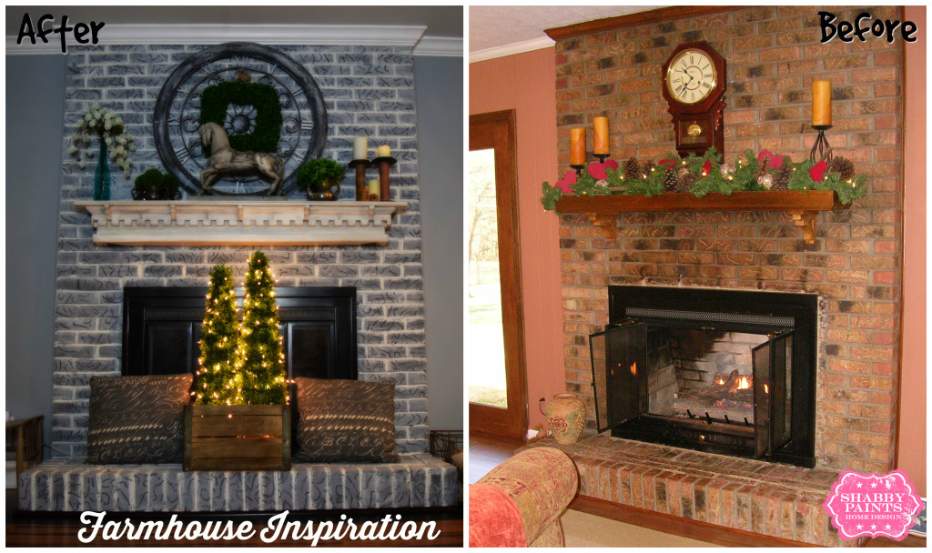 Painted Brick Fireplace Farmhouse, Pictures Of Painted Fireplaces Before And After