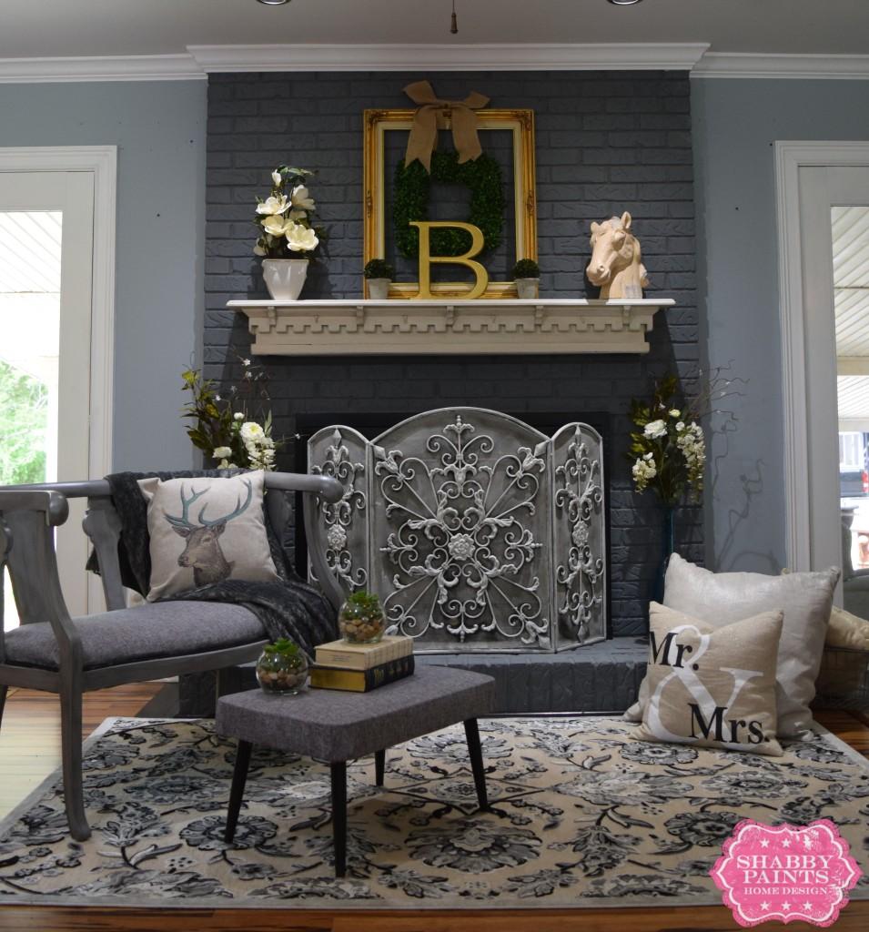 Painted brick fireplace Chalk Paint