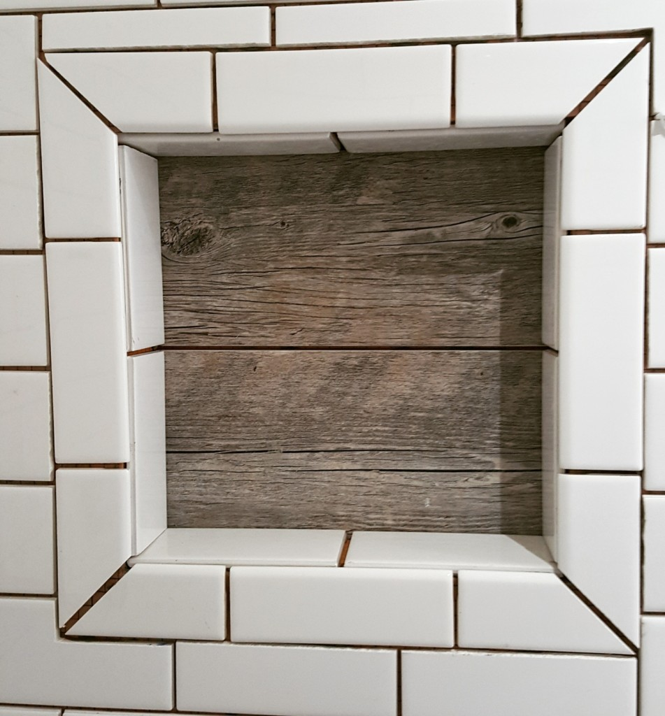 Farmhouse inspired-Barn wood tile shower niche