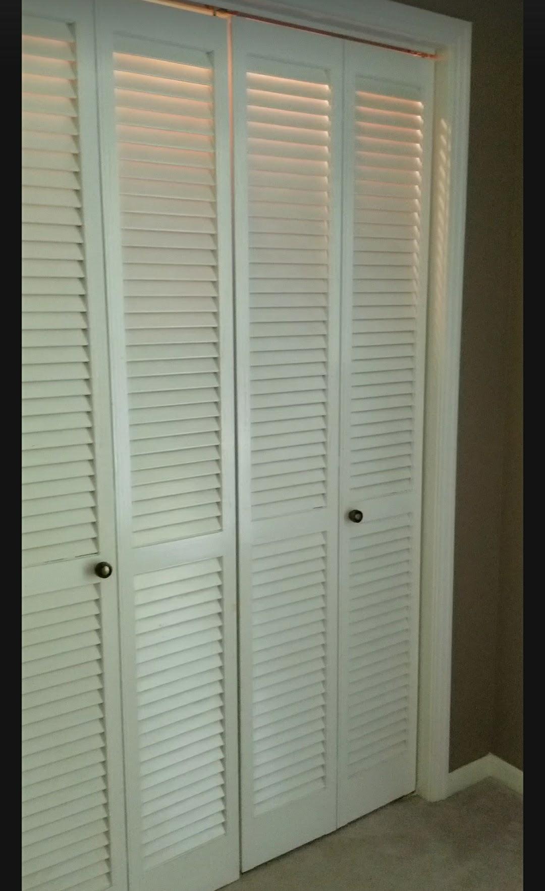 Bye Bye Fold Doors Shiplap Inspired Closet Door Makeover Shabby Paints