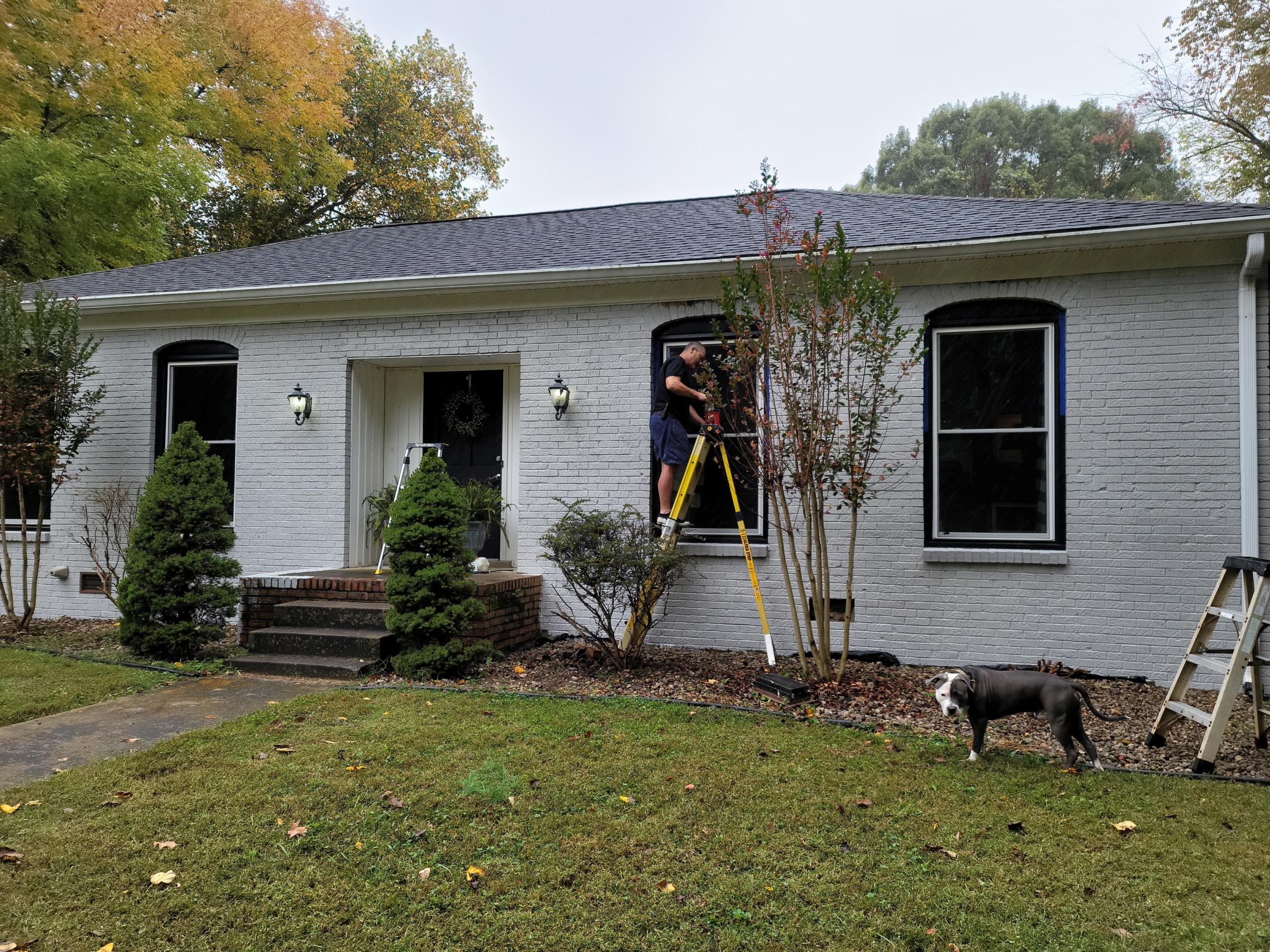Chalk Painted Brick house exterior