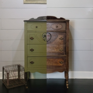 Olive Green Chalk Paint before and after