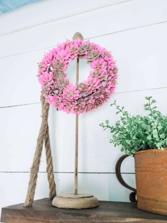 Pink succulent wreath