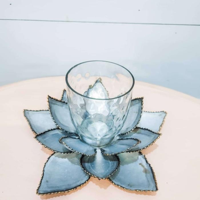 Galvanized Metal Lotus votive