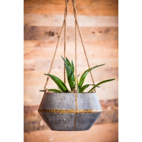 large hanging galvanized planter