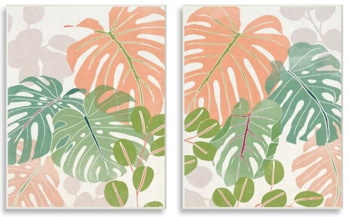 Monstera leaf 2 pc art